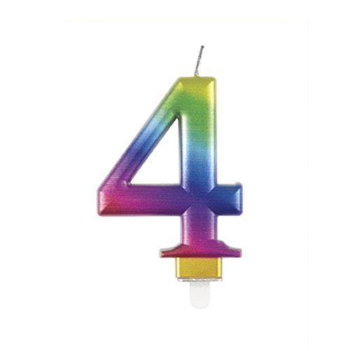 Metallic Rainbow Number 4 Birthday Candle 9cm Product Image