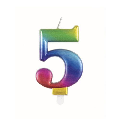 Metallic Rainbow Number 5 Birthday Candle 9cm Product Image