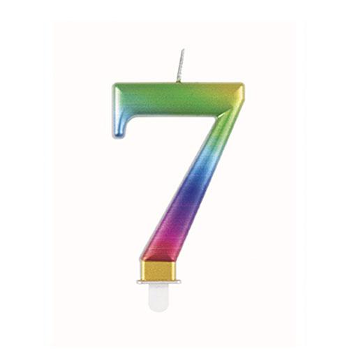 Metallic Rainbow Number 7 Birthday Candle 9cm Product Image