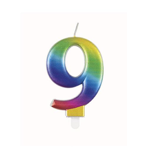 Metallic Rainbow Number 9 Birthday Candle 9cm Product Image