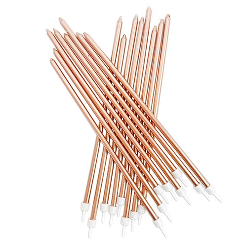 Metallic Rose Gold Extra Tall Cake Candles With Holders 18cm - Pack of 16