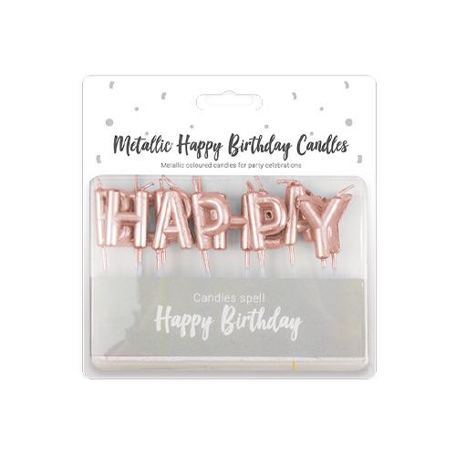 Metallic Rose Gold Happy Birthday Pick Candles