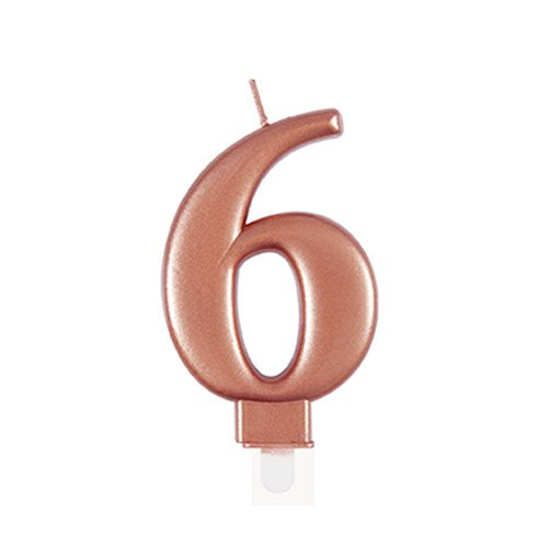 Metallic Rose Gold Number 6 Birthday Candle 9cm