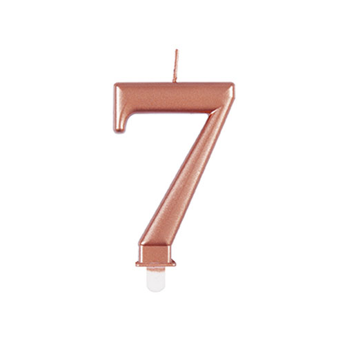 Metallic Rose Gold Number 7 Birthday Candle 9cm Product Image