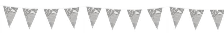Metallic Silver Foil Pennant Bunting 10m