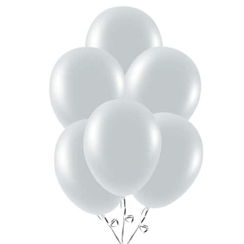 Metallic Silver Latex Balloons 23cm / 9Inch - Pack of 30 Product Image