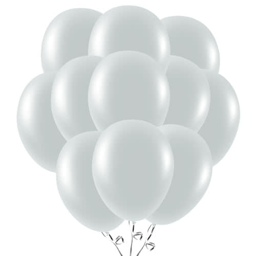 Metallic Silver Latex Balloons 23cm / 9Inch - Pack of 50 Product Image