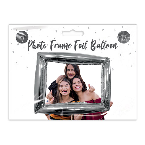 Metallic Silver Photo Frame Air Fill Giant Foil Balloon 87cm / 34 in Product Image