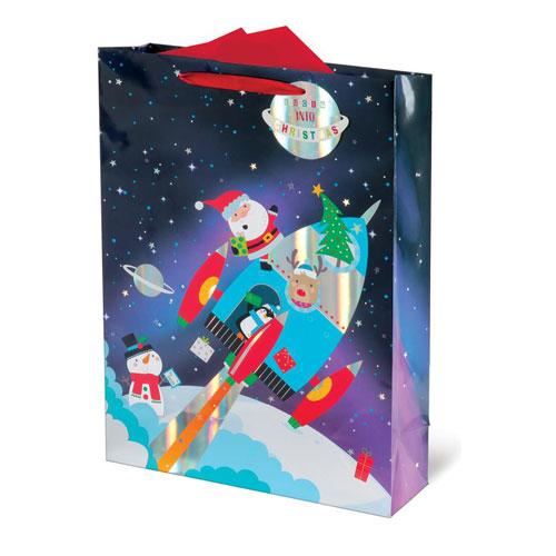 Metallic Spaceship Santa Christmas Extra Large Gift Bag 46cm