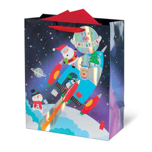 Metallic Spaceship Santa Christmas Large Gift Bag 33cm