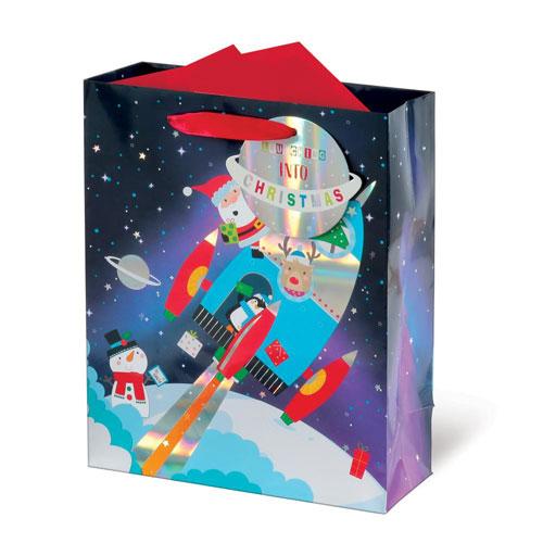 Metallic Spaceship Santa Christmas Medium Gift Bag 26cm