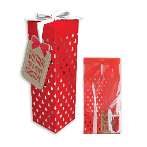 Metallic Trees Luxury Christmas Bottle Gift Box 33cm