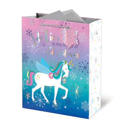 Metallic Unicorn Christmas Large Gift Bag 33cm Product Image