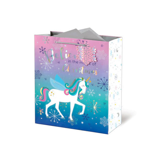 Metallic Unicorn Christmas Medium Gift Bag 26cm