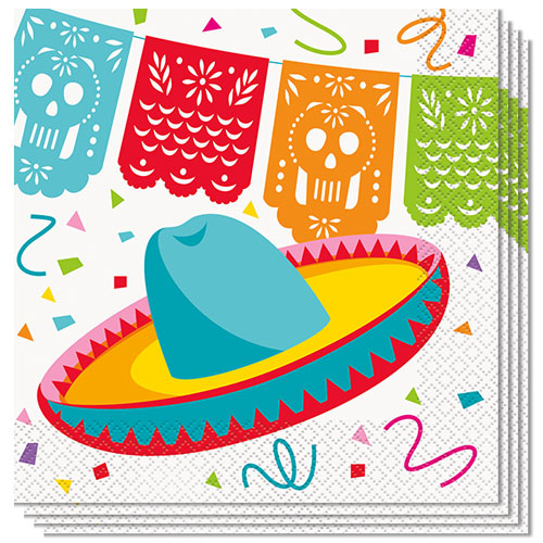 Mexican Fiesta Luncheon Napkins 33cm 2Ply - Pack of 16