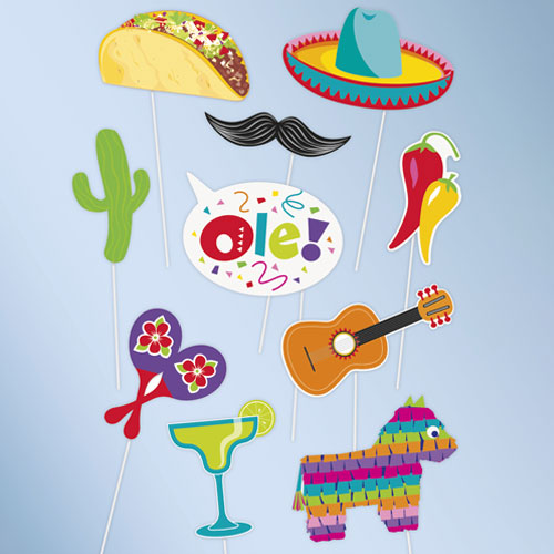 Mexican Fiesta Party Photo Booth Props - Pack of 10
