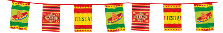 Mexican Fiesta Giant Plastic Bunting 10m
