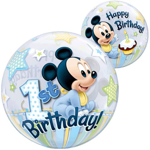 Mickey Mouse 1st Birthday Bubble Helium Qualatex Balloon 56cm / 22 in