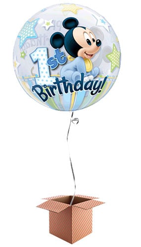 Mickey Mouse 1st Birthday Bubble Helium Qualatex Balloon - Inflated Balloon in a Box