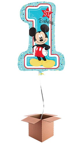 Mickey Mouse 1st Birthday Helium Foil Giant Balloon - Inflated Balloon in a Box