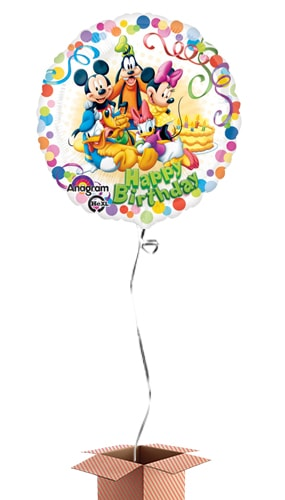 Mickey Mouse And Friends Happy Birthday Round Foil Balloon - Inflated Balloon in a Box Product Image