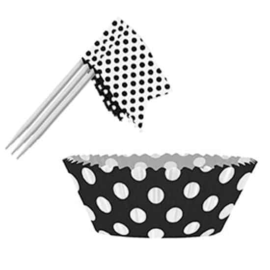 Midnight Black Decorative Dots Cupcake Decorating Kit - Pack of 24
