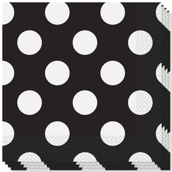 Midnight Black Decorative Dots 2 Ply Luncheon Napkins - 13 Inches / 33cm - Pack of 16