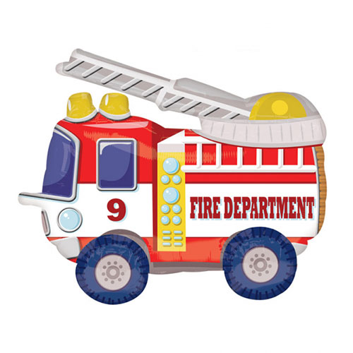 Mighty Firetruck Buddy Airwalker Foil Helium Balloon 60cm / 24 in Product Image