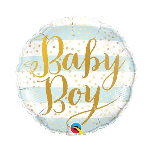 Mini Baby Boy Stripes Air Fill Foil Qualatex Balloon 23cm / 9 in Product Image
