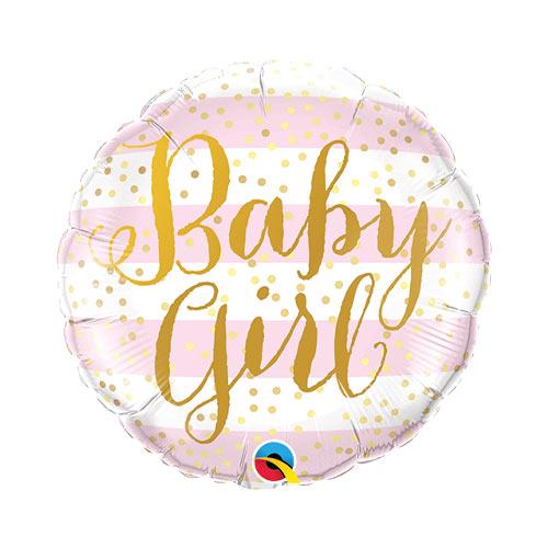 Mini Baby Girl Stripes Air Fill Foil Qualatex Balloon 23cm / 9 in