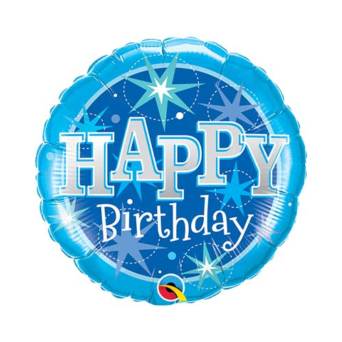 Mini Birthday Blue Sparkle Air Fill Foil Qualatex Balloon 23cm / 9 in Product Image