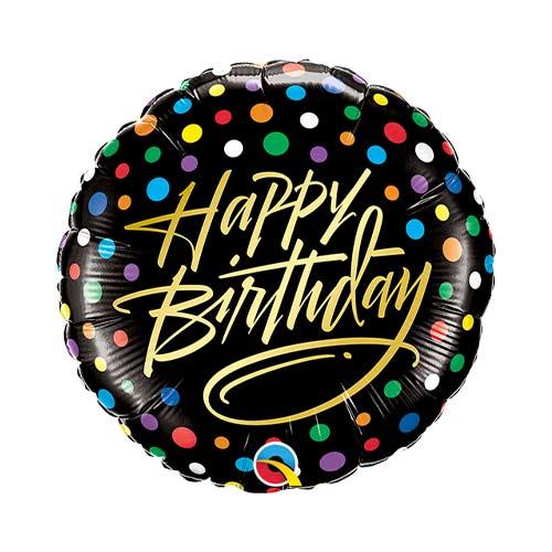 Mini Birthday Gold Script & Dots Air Fill Foil Qualatex Balloon 23cm / 9 in Product Image