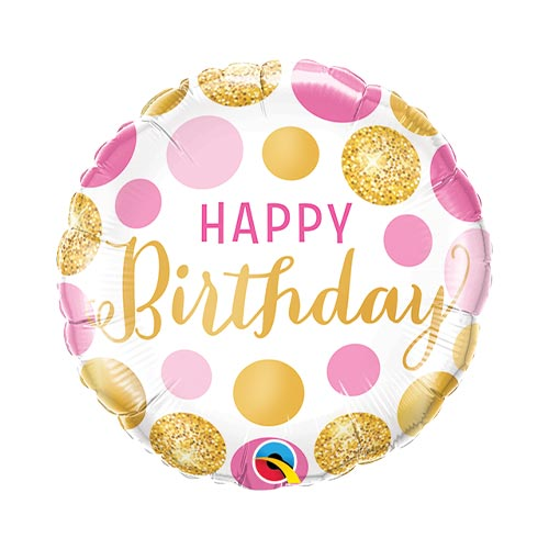 Mini Birthday Pink & Gold Dots Air Fill Foil Qualatex Balloon 22cm / 9 in Product Image