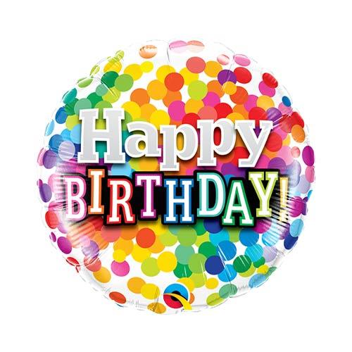 Mini Birthday Rainbow Confetti Air Fill Foil Qualatex Balloon 23cm / 9 in Product Image