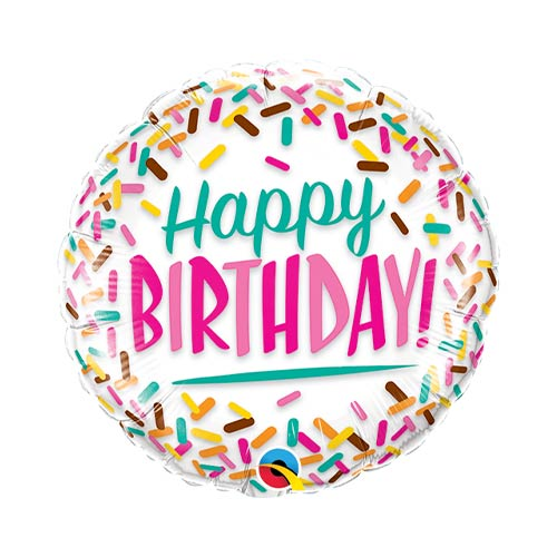Mini Birthday Sprinkles Air Fill Foil Qualatex Balloon 23cm / 9 in Product Image