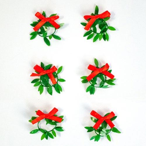 Mini Christmas Wreaths 4cm - Pack of 6