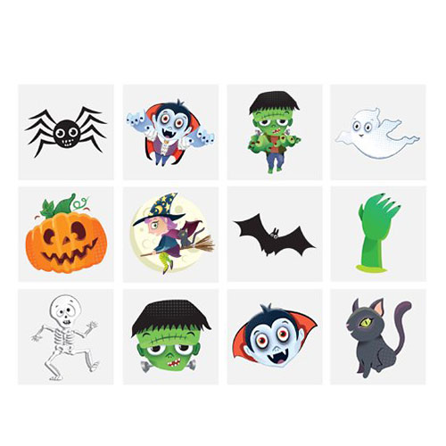 Mini Halloween Temporary Tattoos 4cm - Pack of 12 Product Image
