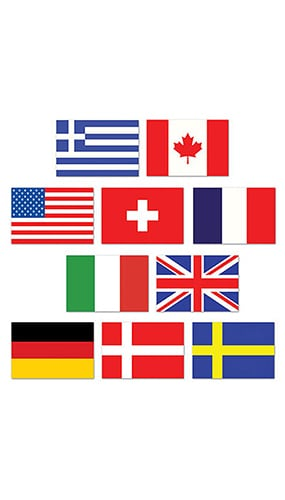 Mini International Flag Decorative Cutouts - 4.5 Inches / 11cm - Pack of 10