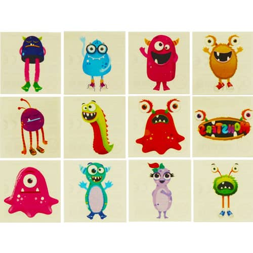 Mini Monster Tattoo Stickers - Pack of 12
