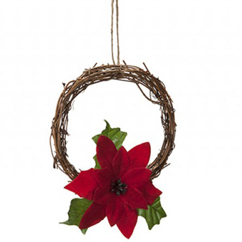 Mini Rattan Wreath with Poinsettia Christmas Decoration 15cm