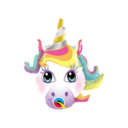 Mini Unicorn Head Air Fill Foil Qualatex Balloon 35cm / 14 in Product Image