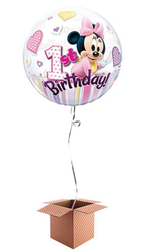Minnie Mouse 1st Birthday Bubble Helium Qualatex Balloon - Inflated Balloon in a Box