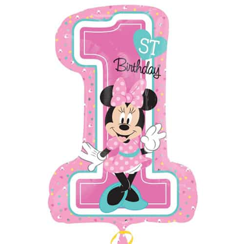 Minnie Mouse 1st Birthday Helium Foil Giant Balloon 71cm / 28 in