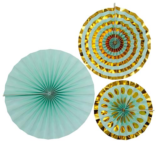 Mint & Gold Pinwheel Fan Hanging Decorations - Pack of 3 Product Image