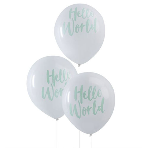 Mint Hello World Baby Arrival Biodegradable Latex Balloons 30cm / 12 in - Pack of 10 Product Image