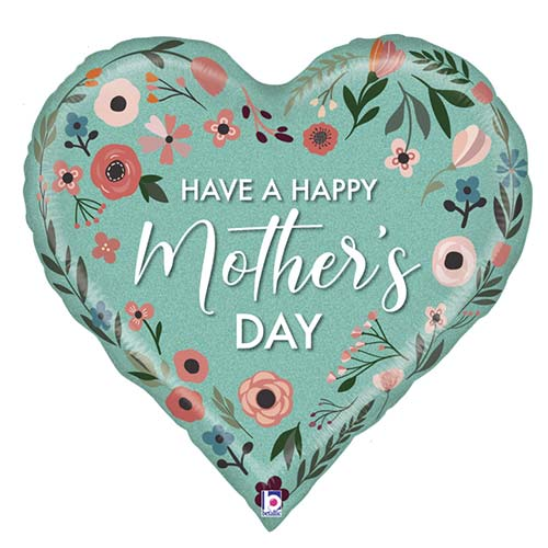 Mint Mother's Day Heart Holographic Helium Foil Giant Balloon 76cm / 30 in Product Image
