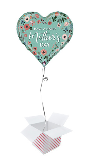 Mint Mother's Day Heart Holographic Helium Foil Giant Balloon - Inflated Balloon in a Box Product Image