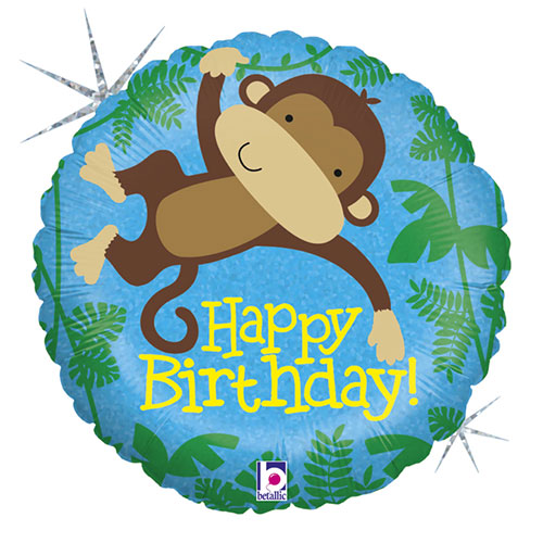 Monkey Buddy Birthday Holographic Round Foil Helium Balloon 46cm / 18 in Product Image