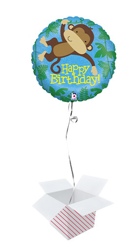 Monkey Buddy Birthday Holographic Round Foil Helium Balloon - Inflated Balloon in a Box Product Image
