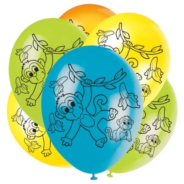 Monkeys Latex Balloons - 30cm - Pack of 6 Product Image